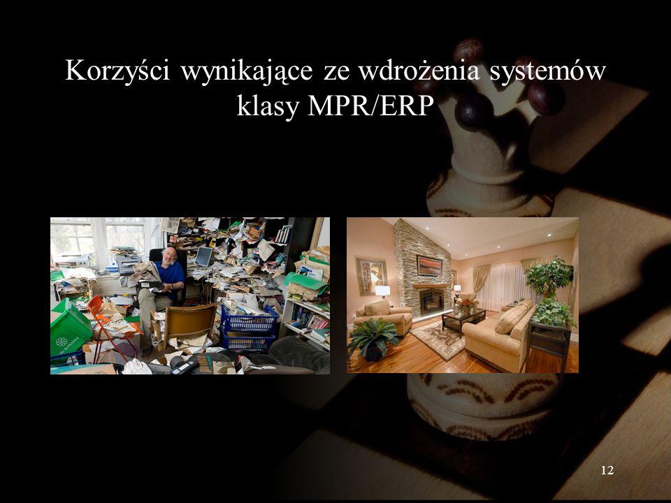 Korzyści wynikające ze wdrożenia systemów klasy MPR/ERP 12