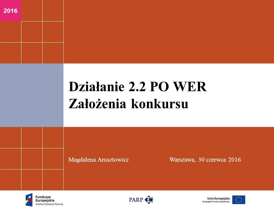2016 Magdalena ArusztowiczWarszawa, 30 czerwca 2016 Działanie 2.2 PO WER Założenia konkursu