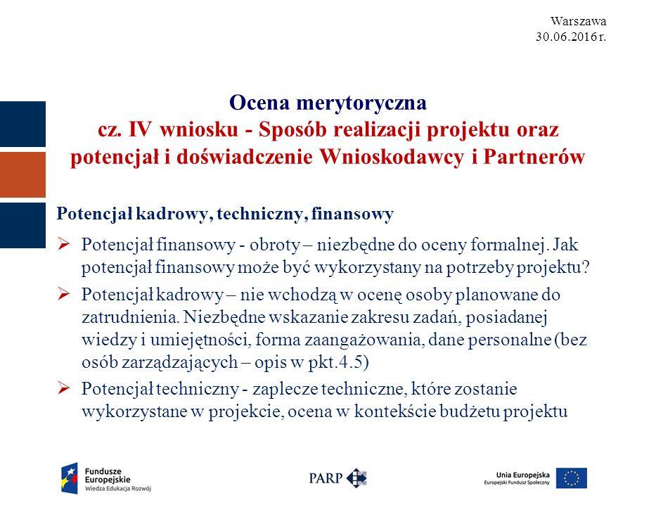Warszawa 30.06.2016 r. Ocena merytoryczna cz.