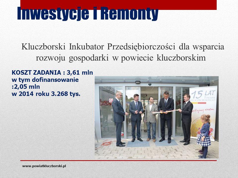 Inwestycje i Remonty Kluczborski Inkubator Przedsiębiorczości dla wsparcia rozwoju gospodarki w powiecie kluczborskim www.powiatkluczborski.pl KOSZT ZADANIA : 3,61 mln w tym dofinansowanie :2,05 mln w 2014 roku 3.268 tys.