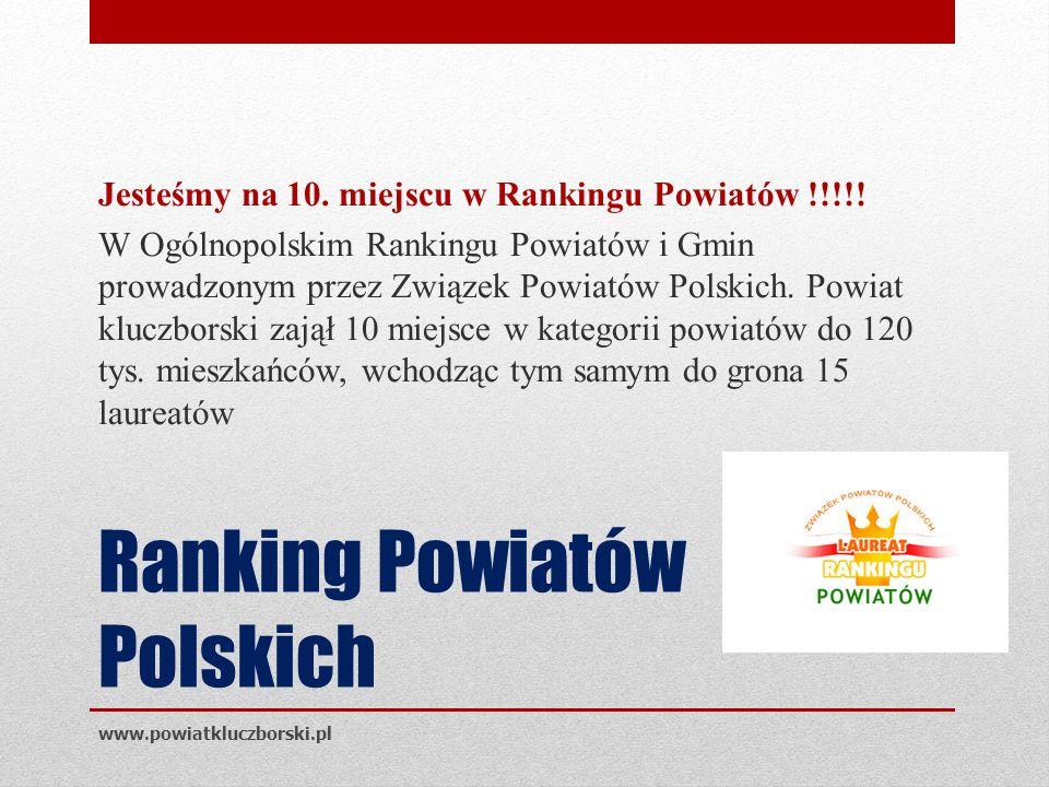 Ranking Powiatów Polskich Jesteśmy na 10. miejscu w Rankingu Powiatów !!!!.