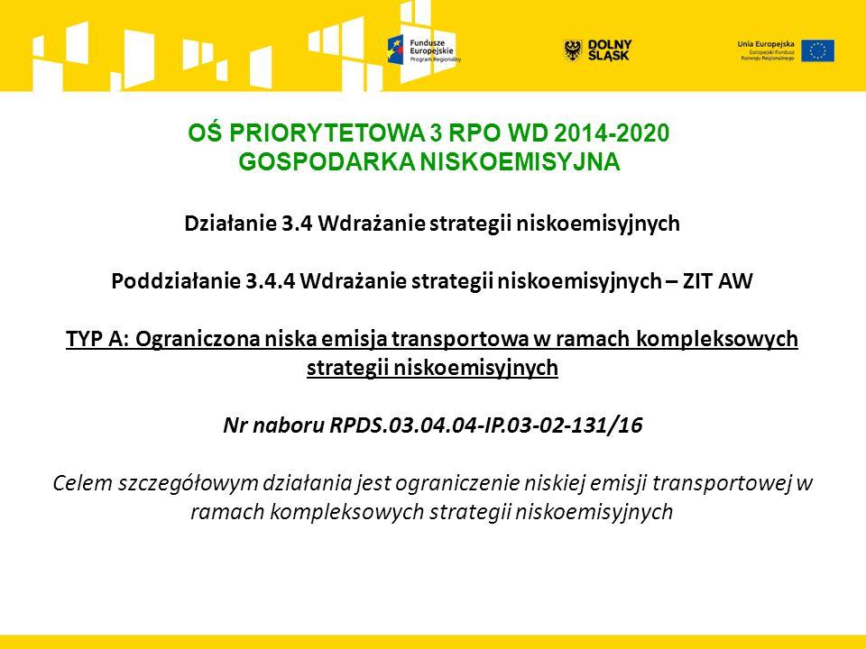 OŚ PRIORYTETOWA 3 RPO WD 2014-2020 GOSPODARKA NISKOEMISYJNA Działanie 3.4 Wdrażanie strategii niskoemisyjnych Poddziałanie 3.4.4 Wdrażanie strategii niskoemisyjnych – ZIT AW TYP A: Ograniczona niska emisja transportowa w ramach kompleksowych strategii niskoemisyjnych Nr naboru RPDS.03.04.04-IP.03-02-131/16 Celem szczegółowym działania jest ograniczenie niskiej emisji transportowej w ramach kompleksowych strategii niskoemisyjnych