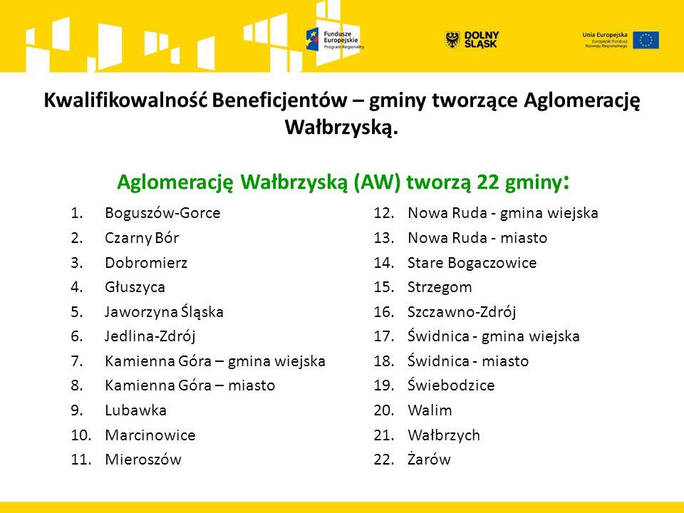 Aglomerację Wałbrzyską (AW) tworzą 22 gminy : Kwalifikowalność Beneficjentów – gminy tworzące Aglomerację Wałbrzyską.