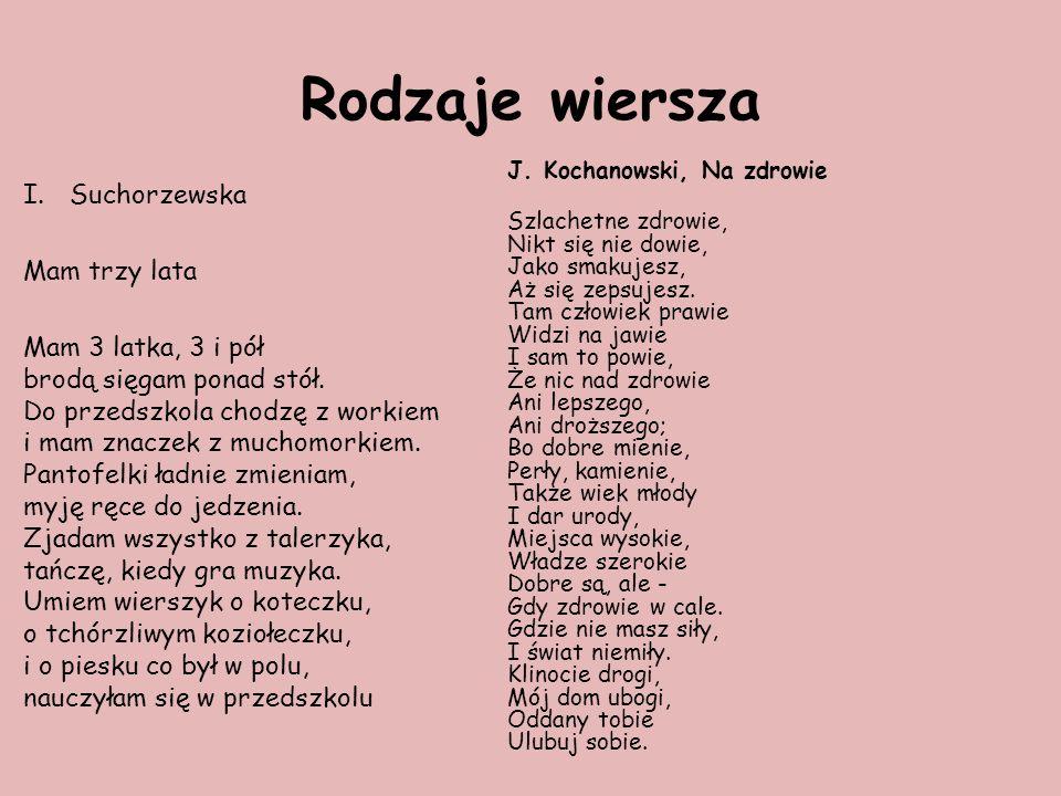 Rodzaje wiersza I.Suchorzewska Mam trzy lata Mam 3 latka, 3 i pół brodą sięgam ponad stół.