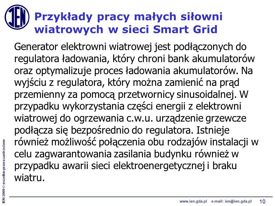 IEN 2009 © wszelkie prawa zastrzeżone www.ien.gda.pl e-mail: ien@ien.gda.pl 10 Przykłady pracy małych siłowni wiatrowych w sieci Smart Grid Generator