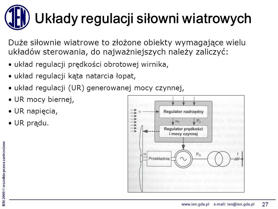 IEN 2009 © wszelkie prawa zastrzeżone www.ien.gda.pl e-mail: ien@ien.gda.pl 27 Układy regulacji siłowni wiatrowych Duże siłownie wiatrowe to złożone o