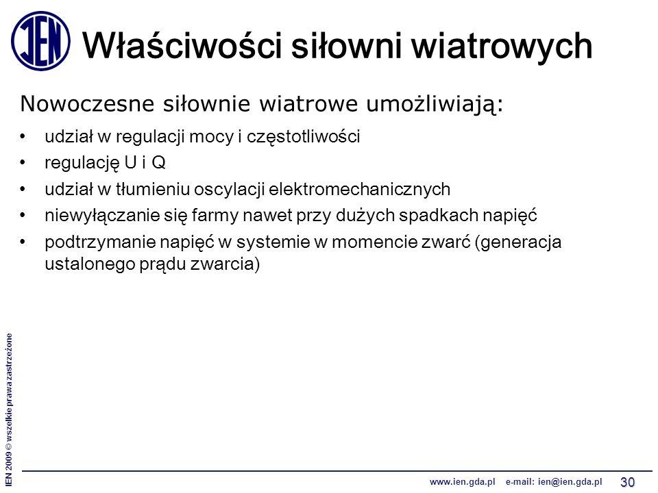 IEN 2009 © wszelkie prawa zastrzeżone www.ien.gda.pl e-mail: ien@ien.gda.pl 30 Właściwości siłowni wiatrowych Nowoczesne siłownie wiatrowe umożliwiają: udział w regulacji mocy i częstotliwości regulację U i Q udział w tłumieniu oscylacji elektromechanicznych niewyłączanie się farmy nawet przy dużych spadkach napięć podtrzymanie napięć w systemie w momencie zwarć (generacja ustalonego prądu zwarcia)