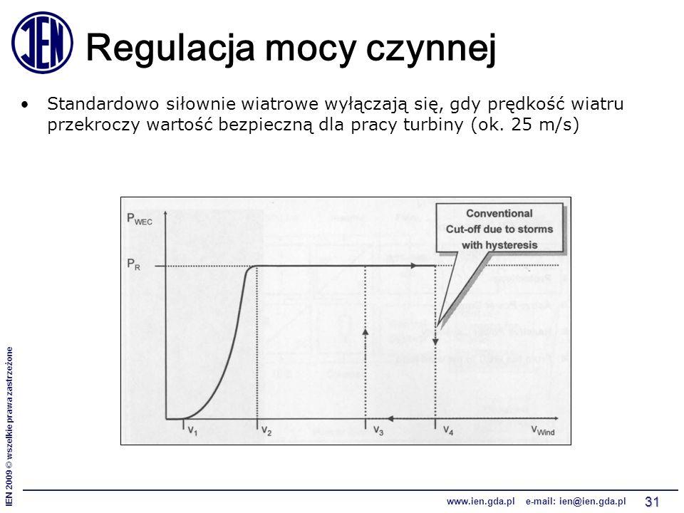 IEN 2009 © wszelkie prawa zastrzeżone www.ien.gda.pl e-mail: ien@ien.gda.pl 31 Regulacja mocy czynnej Standardowo siłownie wiatrowe wyłączają się, gdy prędkość wiatru przekroczy wartość bezpieczną dla pracy turbiny (ok.