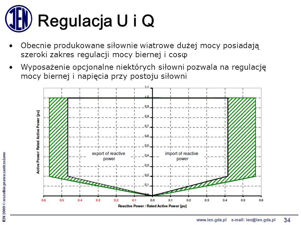 IEN 2009 © wszelkie prawa zastrzeżone www.ien.gda.pl e-mail: ien@ien.gda.pl 34 Regulacja U i Q Obecnie produkowane siłownie wiatrowe dużej mocy posiadają szeroki zakres regulacji mocy biernej i cosφ Wyposażenie opcjonalne niektórych siłowni pozwala na regulację mocy biernej i napięcia przy postoju siłowni