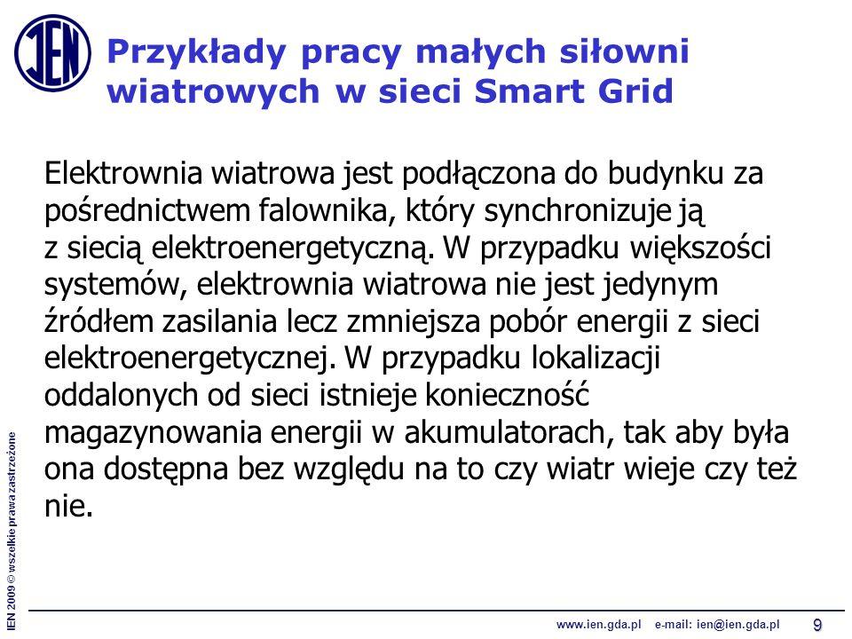 IEN 2009 © wszelkie prawa zastrzeżone www.ien.gda.pl e-mail: ien@ien.gda.pl 9 Przykłady pracy małych siłowni wiatrowych w sieci Smart Grid Elektrownia
