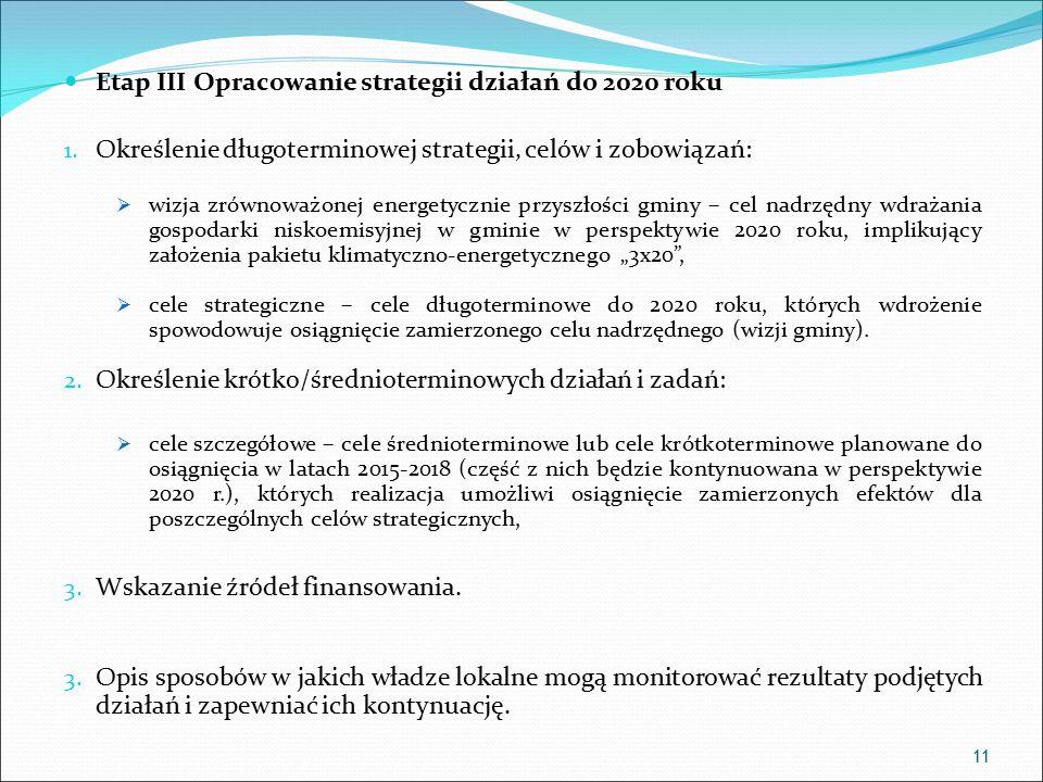 Etap III Opracowanie strategii działań do 2020 roku 1.