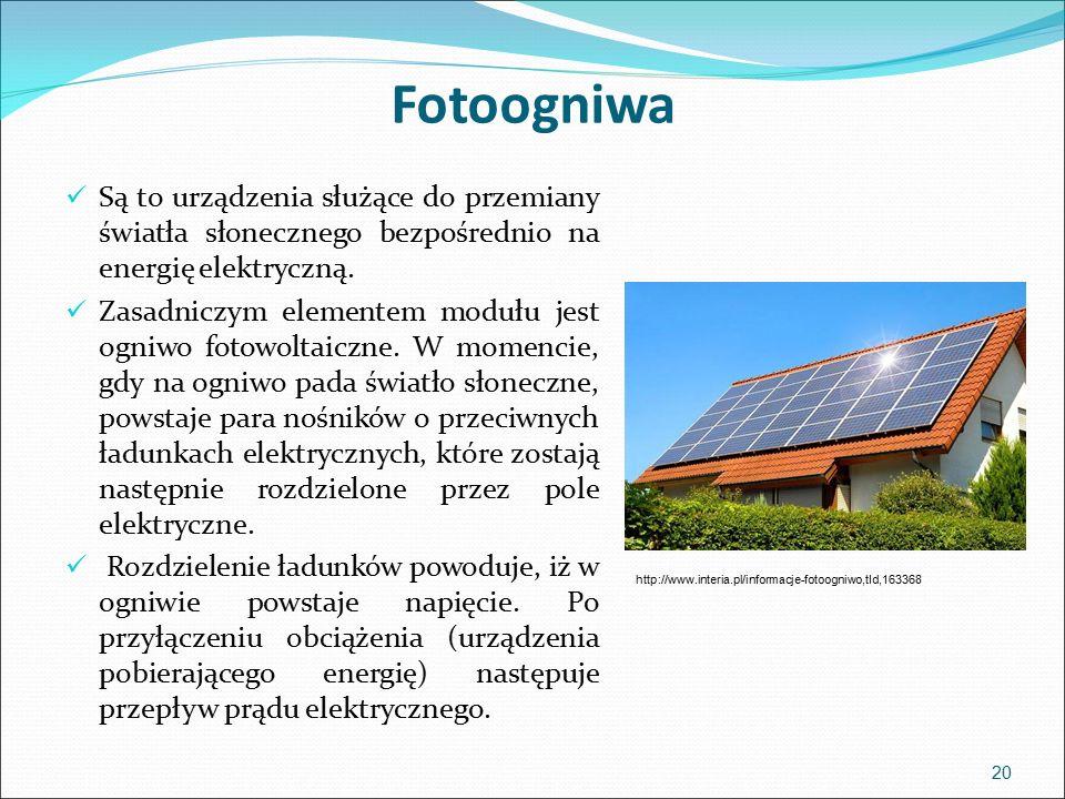 Fotoogniwa 20 Są to urządzenia służące do przemiany światła słonecznego bezpośrednio na energię elektryczną.
