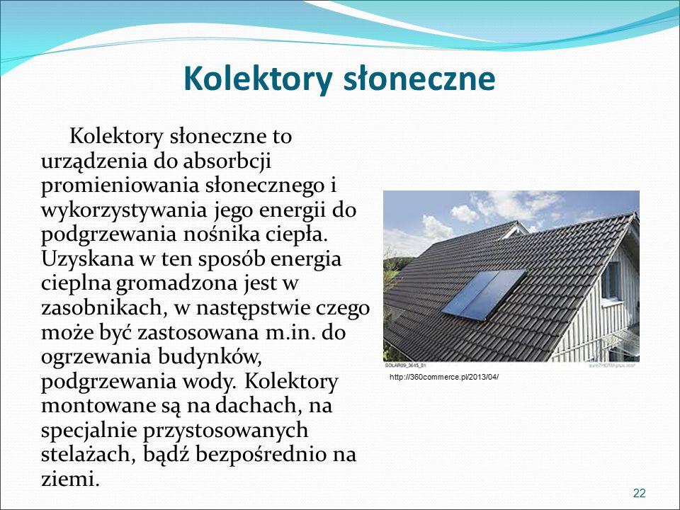 Kolektory słoneczne Kolektory słoneczne to urządzenia do absorbcji promieniowania słonecznego i wykorzystywania jego energii do podgrzewania nośnika ciepła.