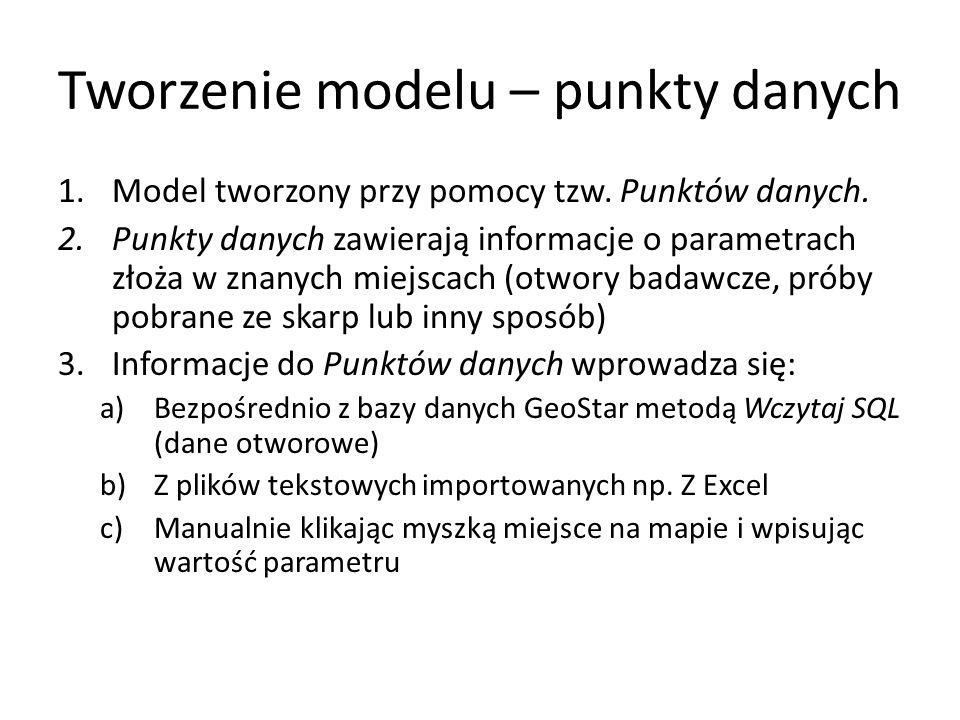 Tworzenie modelu – punkty danych 1.Model tworzony przy pomocy tzw.