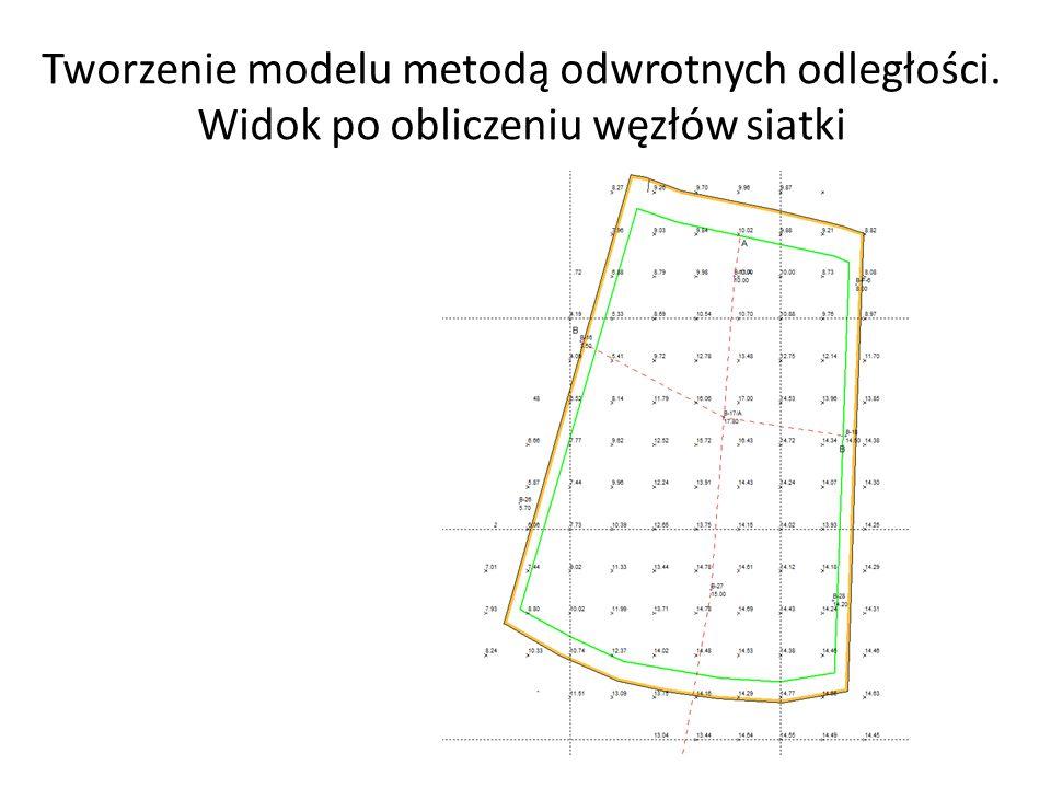 Tworzenie modelu metodą odwrotnych odległości. Widok po obliczeniu węzłów siatki