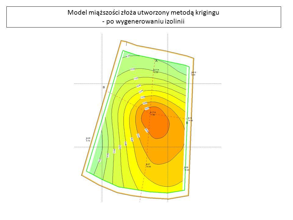 Model miąższości złoża utworzony metodą krigingu - po wygenerowaniu izolinii