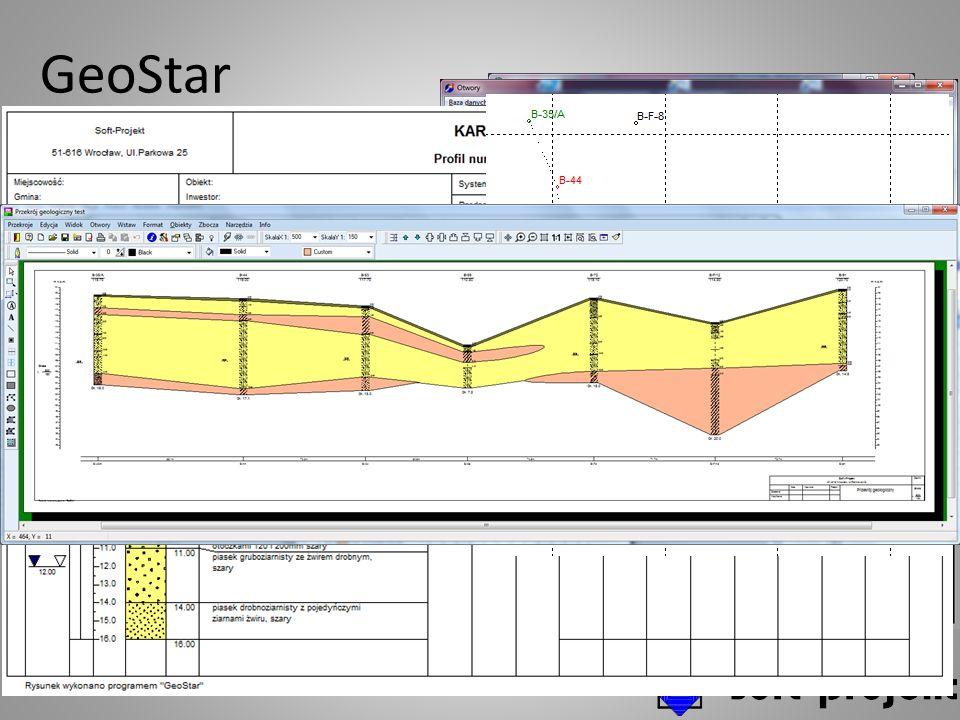 GeoStar Baza danych otworów i generowanie dokumentów Przykłady w wersji dla kruszyw Baza danych otworów Dane ogólne Litologia Analizy dedykowane dla wersji (inżynierska, kruszywa, węgiel itd.) Definiowanie pokładów Zasoby w otworach Różnorodne karty otworów - profile Przekroje