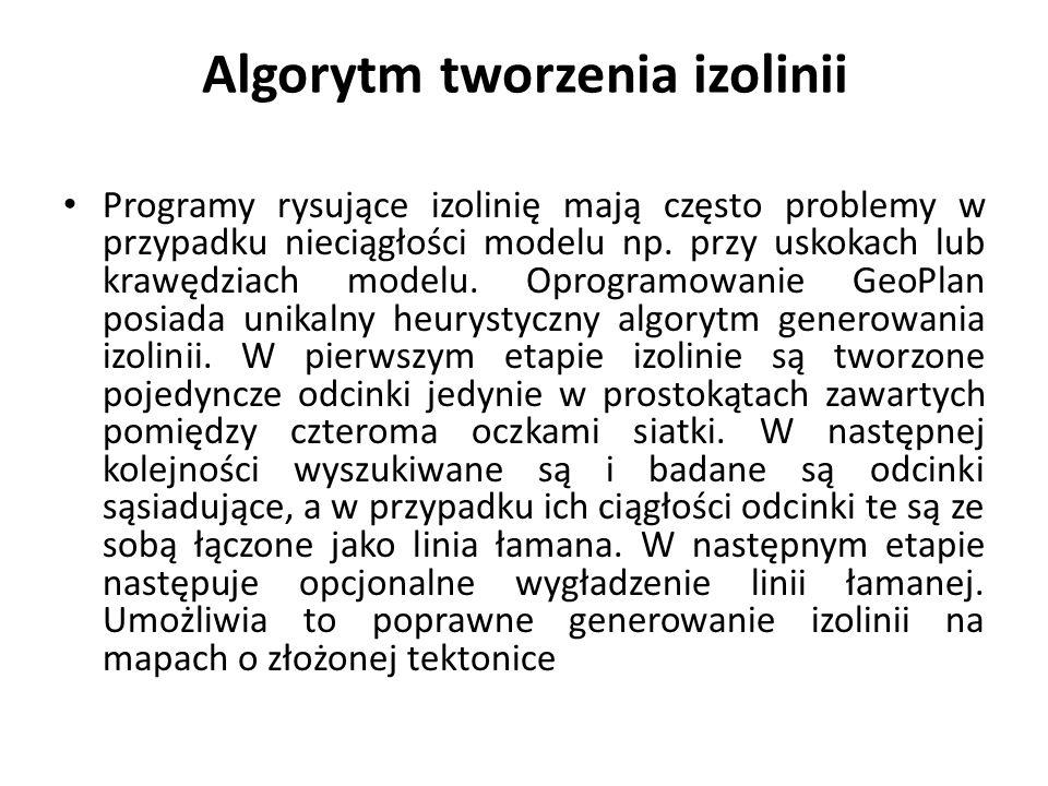 Algorytm tworzenia izolinii Programy rysujące izolinię mają często problemy w przypadku nieciągłości modelu np.