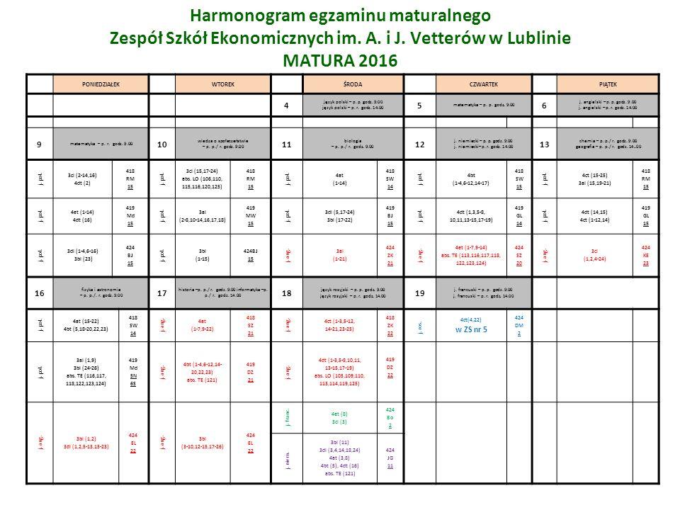 Harmonogram egzaminu maturalnego Zespół Szkół Ekonomicznych im.
