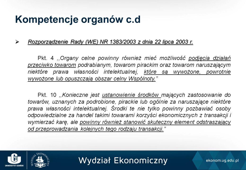  Rozporządzenie Rady (WE) NR 1383/2003 z dnia 22 lipca 2003 r. Pkt. 4,,Organy celne powinny również mieć możliwość podjęcia działań przeciwko towarom