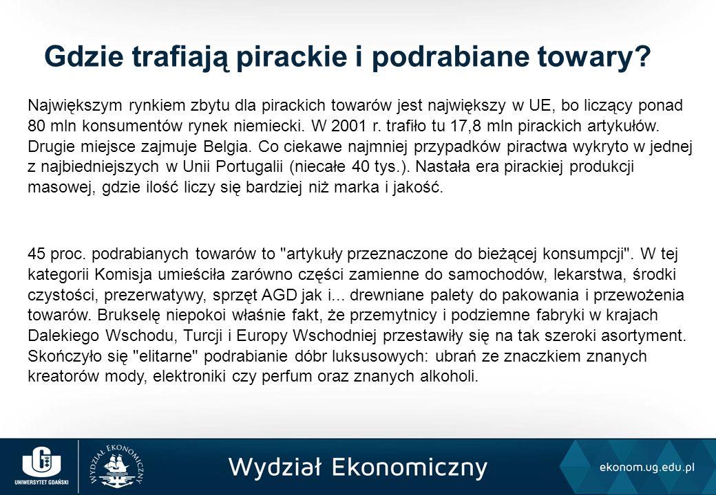 Największym rynkiem zbytu dla pirackich towarów jest największy w UE, bo liczący ponad 80 mln konsumentów rynek niemiecki. W 2001 r. trafiło tu 17,8 m