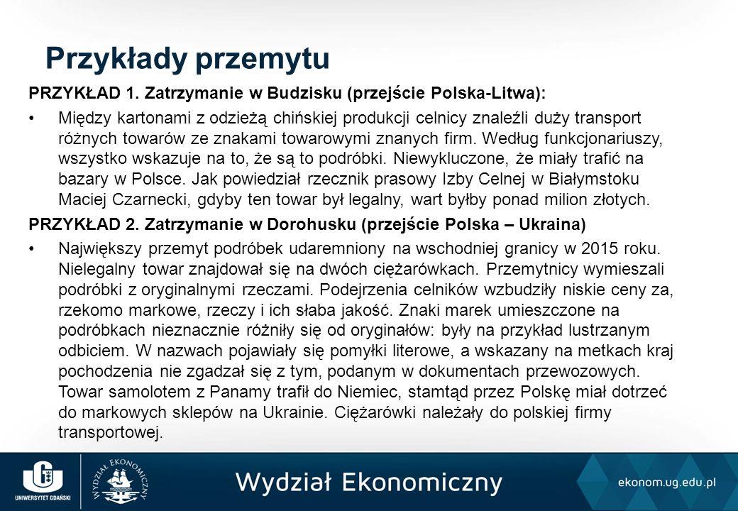 PRZYKŁAD 1. Zatrzymanie w Budzisku (przejście Polska-Litwa): Między kartonami z odzieżą chińskiej produkcji celnicy znaleźli duży transport różnych to