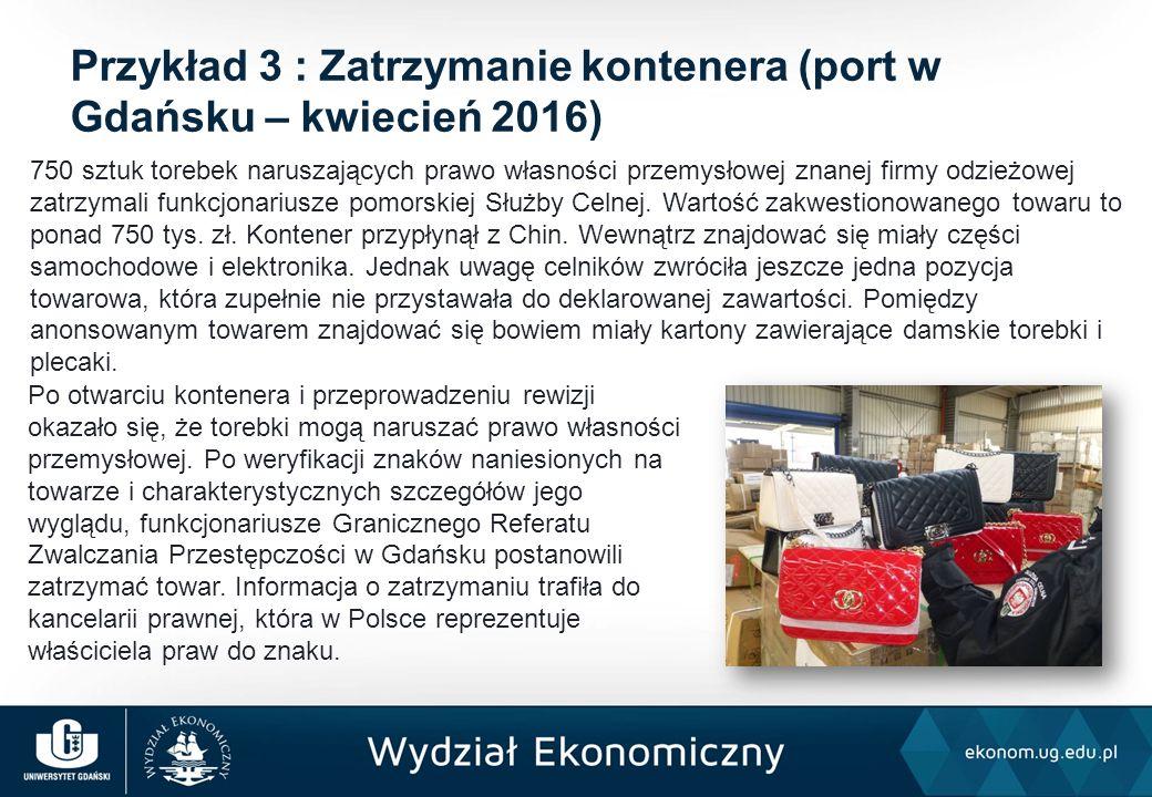 Po otwarciu kontenera i przeprowadzeniu rewizji okazało się, że torebki mogą naruszać prawo własności przemysłowej. Po weryfikacji znaków naniesionych