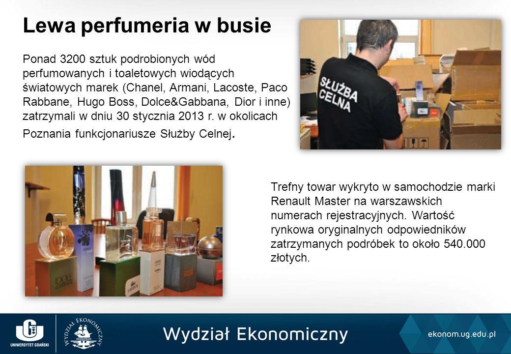Lewa perfumeria w busie Ponad 3200 sztuk podrobionych wód perfumowanych i toaletowych wiodących światowych marek (Chanel, Armani, Lacoste, Paco Rabban