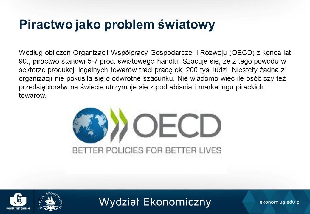 Według obliczeń Organizacji Współpracy Gospodarczej i Rozwoju (OECD) z końca lat 90., piractwo stanowi 5-7 proc. światowego handlu. Szacuje się, że z