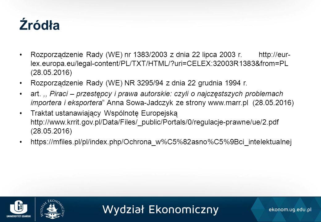 Rozporządzenie Rady (WE) nr 1383/2003 z dnia 22 lipca 2003 r. http://eur- lex.europa.eu/legal-content/PL/TXT/HTML/?uri=CELEX:32003R1383&from=PL (28.05