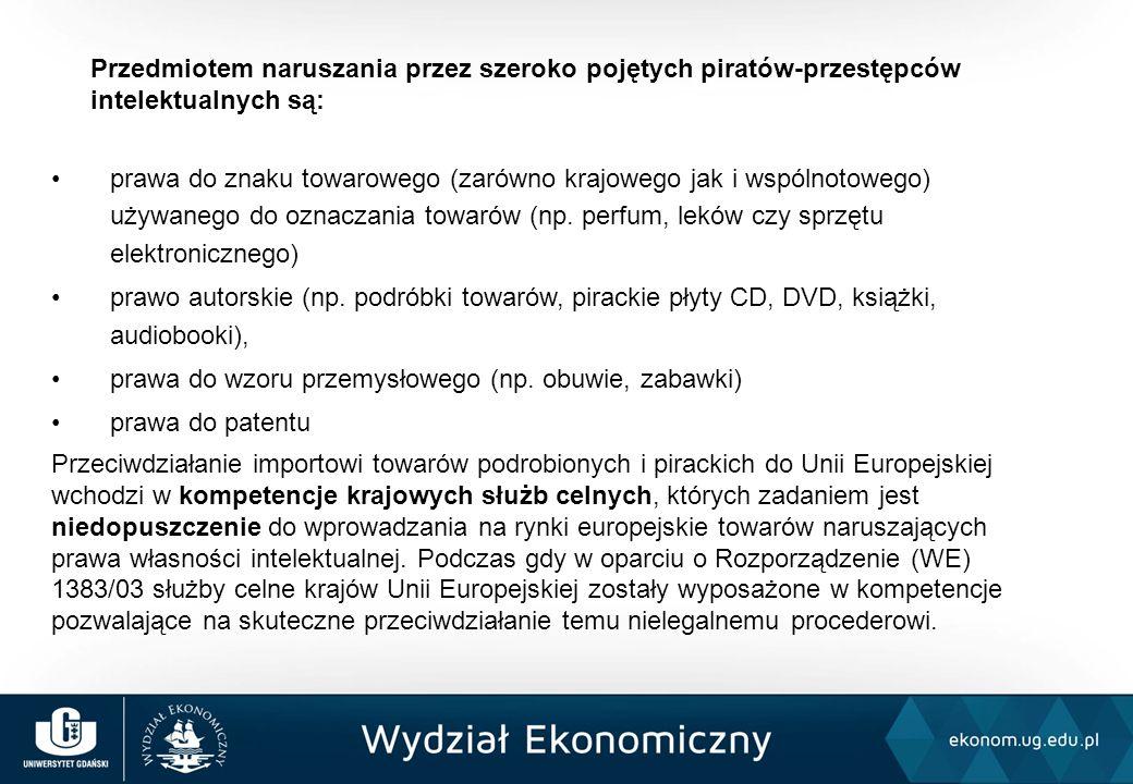 Przedmiotem naruszania przez szeroko pojętych piratów-przestępców intelektualnych są: prawa do znaku towarowego (zarówno krajowego jak i wspólnotowego