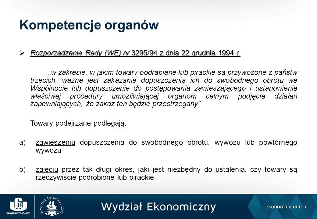 """ Rozporządzenie Rady (WE) nr 3295/94 z dnia 22 grudnia 1994 r. """"w zakresie, w jakim towary podrabiane lub pirackie są przywożone z państw trzecich, w"""