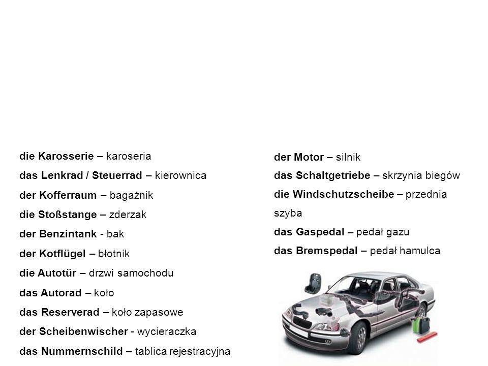 die wichtigsten Autoteile ważniejsze części samochodu Poniżej znajdziemy słownictwo związane z budową auta oraz nazwami jego poszczególnych elementów.