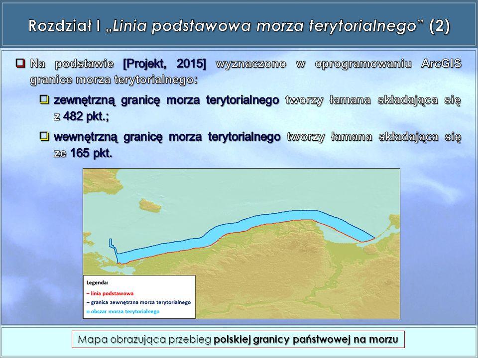 Mapa obrazująca przebieg polskiej granicy państwowej na morzu