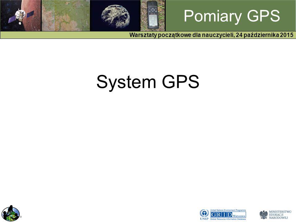 GPS Warsztaty początkowe dla nauczycieli, 24 października 2015 Pomiary GPS System GPS