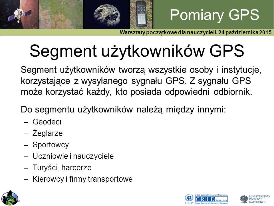 GPS Warsztaty początkowe dla nauczycieli, 24 października 2015 Pomiary GPS Segment użytkowników GPS Segment użytkowników tworzą wszystkie osoby i instytucje, korzystające z wysyłanego sygnału GPS.