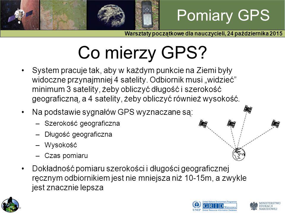 GPS Warsztaty początkowe dla nauczycieli, 24 października 2015 Pomiary GPS Co mierzy GPS.