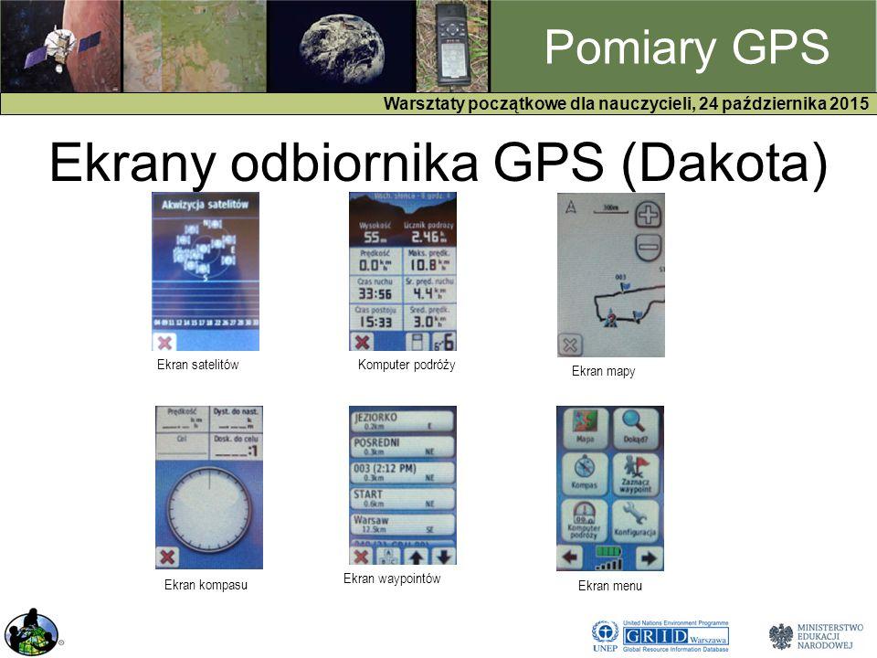 GPS Warsztaty początkowe dla nauczycieli, 24 października 2015 Pomiary GPS Ekrany odbiornika GPS (Dakota) Ekran satelitówKomputer podróży Ekran mapy Ekran kompasu Ekran waypointów Ekran menu