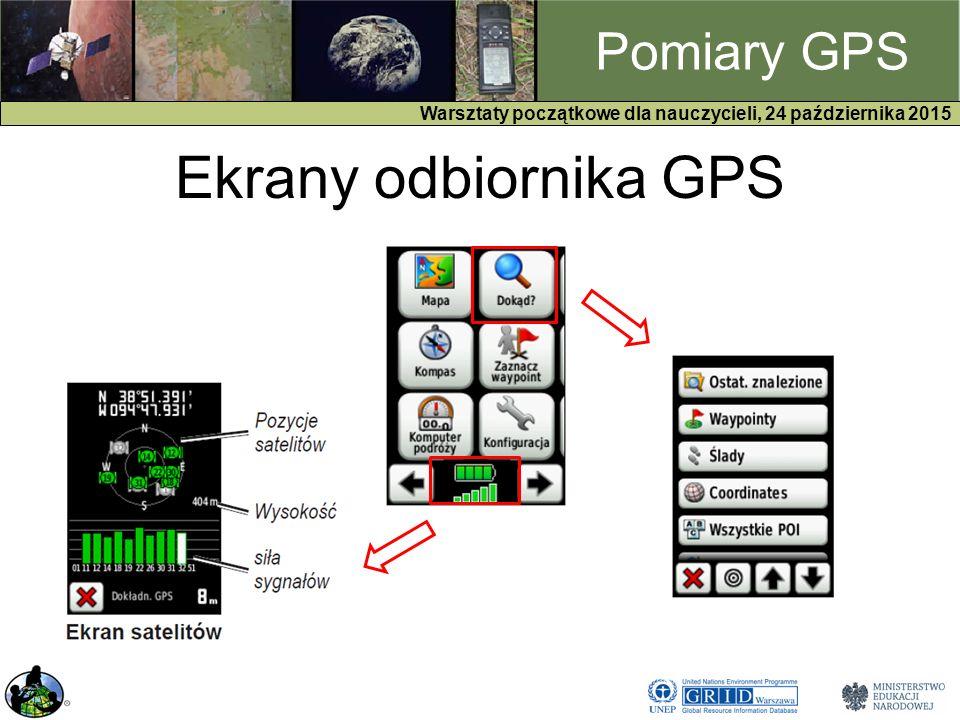 GPS Warsztaty początkowe dla nauczycieli, 24 października 2015 Pomiary GPS Ekrany odbiornika GPS