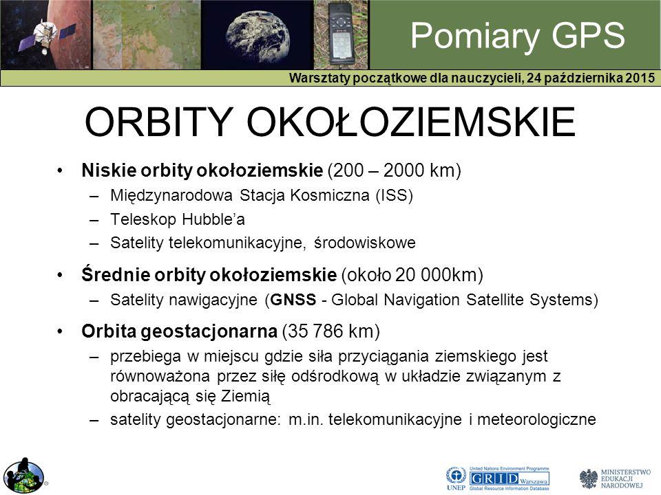 GPS Warsztaty początkowe dla nauczycieli, 24 października 2015 Pomiary GPS ORBITY OKOŁOZIEMSKIE Niskie orbity okołoziemskie (200 – 2000 km) –Międzynarodowa Stacja Kosmiczna (ISS) –Teleskop Hubble'a –Satelity telekomunikacyjne, środowiskowe Średnie orbity okołoziemskie (około 20 000km) –Satelity nawigacyjne (GNSS - Global Navigation Satellite Systems) Orbita geostacjonarna (35 786 km) –przebiega w miejscu gdzie siła przyciągania ziemskiego jest równoważona przez siłę odśrodkową w układzie związanym z obracającą się Ziemią –satelity geostacjonarne: m.in.