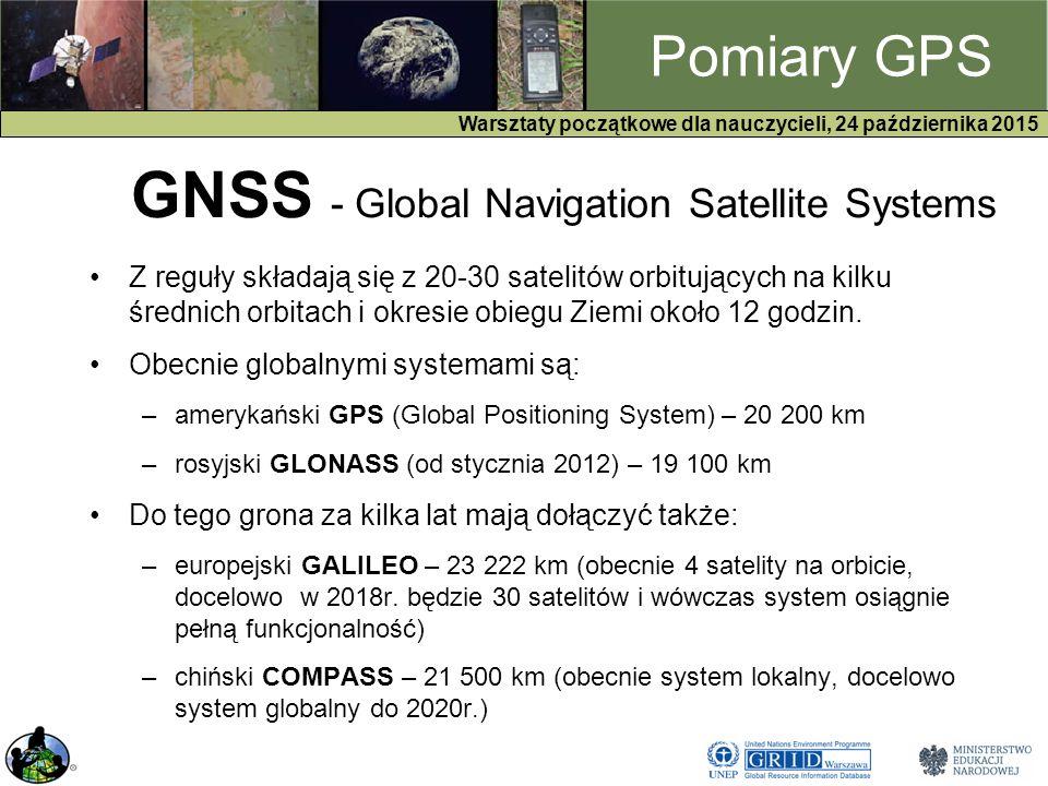 GPS Warsztaty początkowe dla nauczycieli, 24 października 2015 Pomiary GPS GNSS - Global Navigation Satellite Systems Z reguły składają się z 20-30 satelitów orbitujących na kilku średnich orbitach i okresie obiegu Ziemi około 12 godzin.
