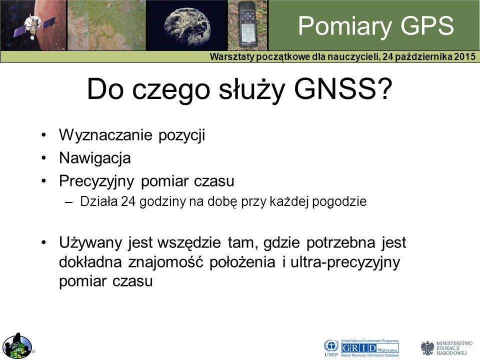 GPS Warsztaty początkowe dla nauczycieli, 24 października 2015 Pomiary GPS Do czego służy GNSS.