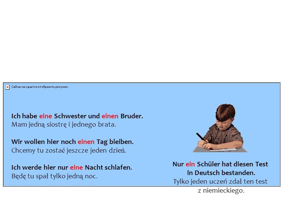 Liczebniki w języku niemieckim są nieodmienne. Wyjątkiem jest jedynie liczebnik eins (jeden), który odmienia się jak rodzajnik nieokreślony: Ich habe