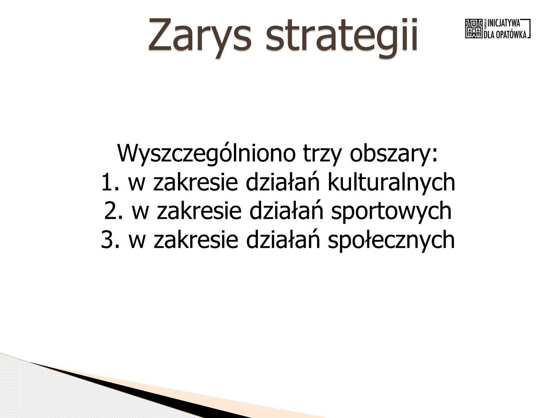Zarys strategii Wyszczególniono trzy obszary: 1. w zakresie działań kulturalnych 2. w zakresie działań sportowych 3. w zakresie działań społecznych