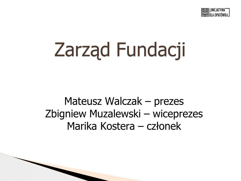 Zarząd Fundacji Mateusz Walczak – prezes Zbigniew Muzalewski – wiceprezes Marika Kostera – członek