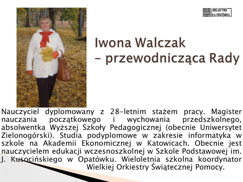 Iwona Walczak – przewodnicząca Rady Nauczyciel dyplomowany z 28-letnim stażem pracy. Magister nauczania początkowego i wychowania przedszkolnego, abso