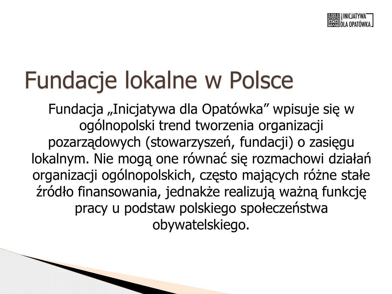 """Fundacje lokalne w Polsce Fundacja """"Inicjatywa dla Opatówka wpisuje się w ogólnopolski trend tworzenia organizacji pozarządowych (stowarzyszeń, fundacji) o zasięgu lokalnym."""