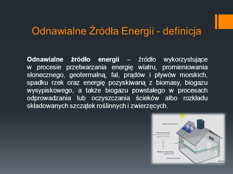 Odnawialne Źródła Energii - definicja Odnawialne źródło energii – źródło wykorzystujące w procesie przetwarzania energię wiatru, promieniowania słonecznego, geotermalną, fal, prądów i pływów morskich, spadku rzek oraz energię pozyskiwaną z biomasy, biogazu wysypiskowego, a także biogazu powstałego w procesach odprowadzania lub oczyszczania ścieków albo rozkładu składowanych szczątek roślinnych i zwierzęcych.