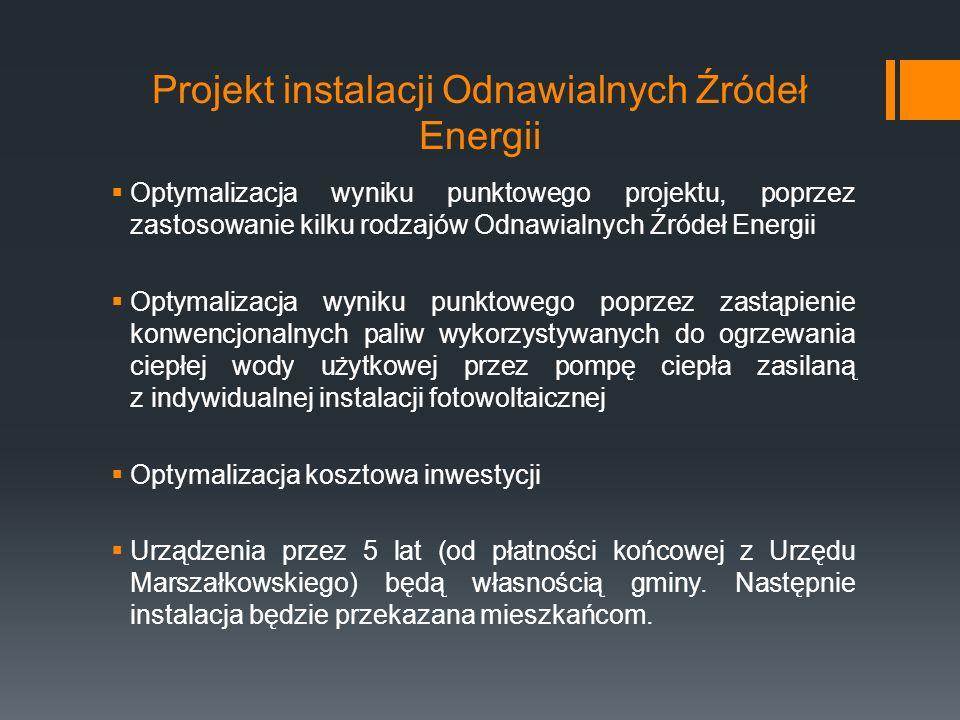 Projekt instalacji Odnawialnych Źródeł Energii  Optymalizacja wyniku punktowego projektu, poprzez zastosowanie kilku rodzajów Odnawialnych Źródeł Energii  Optymalizacja wyniku punktowego poprzez zastąpienie konwencjonalnych paliw wykorzystywanych do ogrzewania ciepłej wody użytkowej przez pompę ciepła zasilaną z indywidualnej instalacji fotowoltaicznej  Optymalizacja kosztowa inwestycji  Urządzenia przez 5 lat (od płatności końcowej z Urzędu Marszałkowskiego) będą własnością gminy.