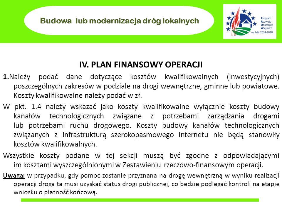 Budowa lub modernizacja dróg lokalnych IV. PLAN FINANSOWY OPERACJI 1.Należy podać dane dotyczące kosztów kwalifikowalnych (inwestycyjnych) poszczególn